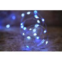 Guirlande Electrique Lumineuse Interieure Guirlande micro-LED - 7.5 m - Bleu et pur - 75 LED - 16 fonctions memoire - Cable argent transparent