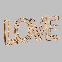 Guirlande Electrique Lumineuse Interieure LOTTI Ecriture Love 3D en fil metal 34x15 cm - 60 micro-LED D 1.5 mm - Cuivre brillant - Transformateur 3.5 V fourni