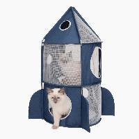 Habitat - Couchage CAT IT Tour a chat Fusée Vesper Rocket Ship - Bleu
