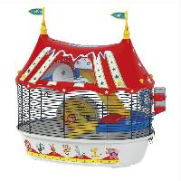 Habitat - Couchage Cage Circus Fun 49.5x34x42.5 cm - Rouge - Pour hamster