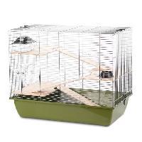 Habitat - Couchage DUVO Cage Natural Charlie 3 - 70x40x57.5 cm - Vert olive et zinc - Pour rongeurs