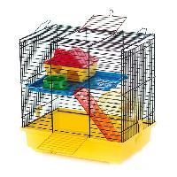 Habitat - Couchage DUVO Cage Teddy 1 Color - 36x24x36 cm - Jaune et noir - Pour hamster nain