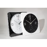 Horloge - Reveil ALBA Horloge murale carrée avec fonction thermometre - 30 cm - Blanc et noir