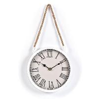 Horloge - Reveil AUDREY Horloge suspendue 22 cm - Blanc  et corde - Generique