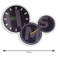 Horloge - Reveil AUSTIN Horloge - Affichage déporté - 3 cadrans et 3 mouvements quartz - Noir - Aucune