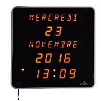 Horloge - Reveil EPHEMERIS Horloge calendrier - Grands caracteres DST - Blanc - 28 cm