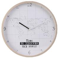 Horloge - Reveil HOME DECO Factory Horloge murale Mappemonde - Contour bois M8 HO2914