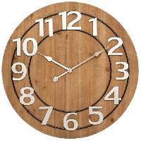 Horloge - Reveil Horloge MDF et Métal Hailey - Ø68 cm - Marron