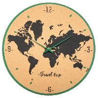 Horloge - Reveil Horloge carte du monde en liege - Ø48 cm - Multicouleur