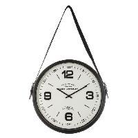 Horloge - Reveil Horloge ceinture en métal- Ø 38 cm - Noir