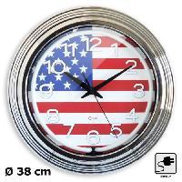 Horloge - Reveil Horloge electrique Neon 38 cm chrome