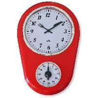 Horloge - Reveil Horloge murale Timer Menphis - Dimensions cadran - D15.3 cm - Rouge