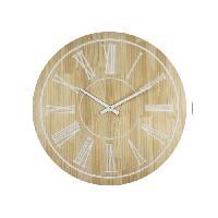 Horloge - Reveil Horloge murale effet bois - MDF - 60x4 cm - Style classique et industriel - 1 pile LR06 -AA. 1.5V- non fournie