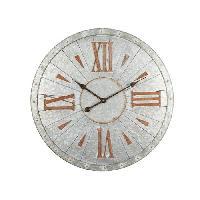 Horloge - Reveil Horloge murale effet metal - Acier - D68x3 cm - Style classique et industriel - 1 pile LR06 -AA. 1.5V- non fournie