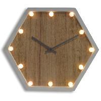 Horloge - Reveil Horloge murale lumineuse Vega - 37x32 cm - Blanc et marron bois