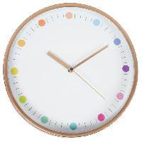 Horloge - Reveil Horloge murale ronde - D25.5 cm - Cuivre et plastique - Mat et pois multicolore