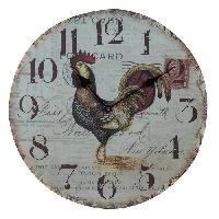 Horloge - Reveil Horloge murale vintage en bois - D34 x 3 cm - Motif imprime coq