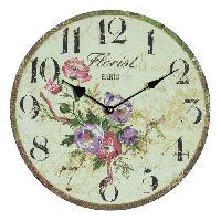 Horloge - Reveil Horloge murale vintage en bois - D34 x 3 cm - Motif imprime floral