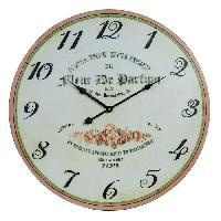 Horloge - Reveil Horloge murale vintage en bois - D50 x 2 cm - Motif imprime floral