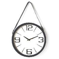 Horloge - Reveil Horloge ronde - Métal et plastique - Ø 38 x épaisseur 6 cm - Noir