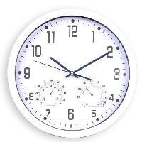 Horloge - Reveil Horloge silencieuse thermometre et hygrometre - D 35 cm - Plastique et verre - Blanc