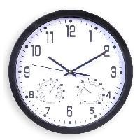 Horloge - Reveil Horloge silencieuse thermometre et hygrometre - D35 cm - Plastique et verre - Noir