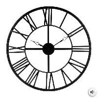 Horloge - Reveil Horloge vintage en métal - Ø 70 cm - Noir