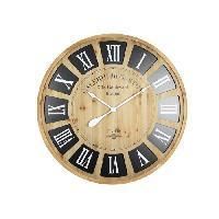 Horloge - Reveil KATE Horloge murale grand format effet bois clair - 80 cm - Style classique et industriel - Aucune