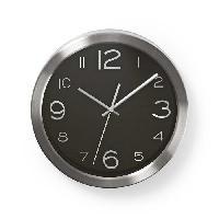 Horloge - Reveil NEDIS Horloge murale circulaire - Ø 30 cm - Noir Acier inoxydable - Aucune