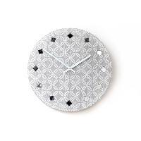 Horloge - Reveil Pendule géo avec strass - 30 cm - Grise - Aucune