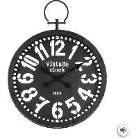 Horloge - Reveil Pendule gousset en métal - Ø 45 x Ep. 6.5 x H. 60.5 cm - Gris foncé