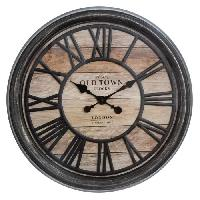 Horloge - Reveil Pendule relief - Ø 50.6 x Ep. 5.5 cm - Marron