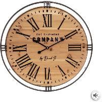 Horloge - Reveil Pendule style colonial - Ø 58 x Ep. 4.5 cm - Marron