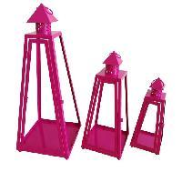 Housse De Couette  HOMEA Set de 3 lanternes pyramide en metal H30-40-55cm fuchsia
