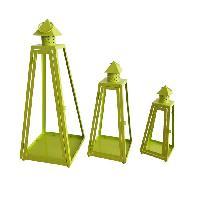 Housse De Couette  HOMEA Set de 3 lanternes pyramide en metal H30-40-55cm vert anis