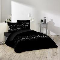 Housse De Couette  Parure de couette 100 coton Love dreams - 1 housse de couette 220x240 cm + 2 taies 63x63 cm noir