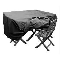 Housse Pour Meubles De Jardin GREEN CLUB Housse de protection pour salon de jardin table + 4 chaises - 124x124x65 cm - Anthracite