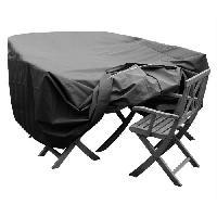 Housse Pour Meubles De Jardin GREEN CLUB Housse de protection pour salon de jardin table + 6 chaises - 245x165x65 cm - Anthracite