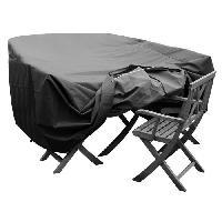 Housse Pour Meubles De Jardin Housse de protection pour salon de jardin table + 6 a 8 chaises - 250x150x65 cm - Anthracite
