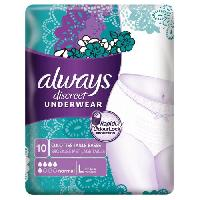 Hygiene Intime  ALWAYS Culotte Discrete pour fuites Urinaires Incontinence - Normal - Taille L
