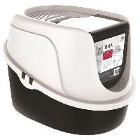 Hygiene Litiere Dejections M-PETS Maison de toilette Tima - 52.3x39.7x38cm - Noir et blanc - Pour chat