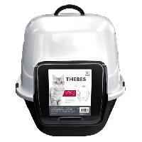 Hygiene Litiere Dejections MPETS Maison de toilette Thebes - 62x53x58 cm - Noir et blanc - Pour chat