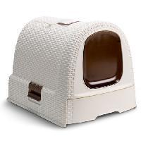 Hygiene Litiere Dejections Maison de toilette - Blanc ivoire - Pour chat