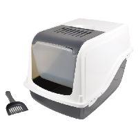 Hygiene Litiere Dejections Maison de toilette + accessoires - 53x36x42 cm - Ivoire - Pour chat