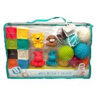 Imagination INFANTINO Senso Set de 8 balles souples. 8 cubes sensoriels et 4 animaux arroseurs