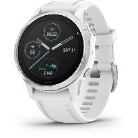 Instrument De Mesure Garmin fenix 6S - Montre GPS multisports haut de gamme - Silver avec bracelet blanc