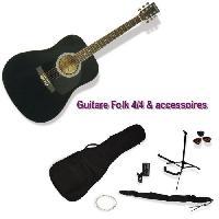 Instruments De Musique DELSON Pack Guitare Folk Montana noir + accessoire