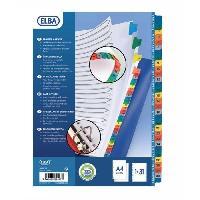Intercalaire Paquet de 31 intercalaires numeriques A4 - Carte coloree - Strongline