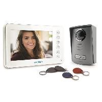 "Interphone - Visiophone AVIDSEN Interphone vidéo couleur 7"" 2 fils YLVA 2+ avec lecteur RFID et badges"