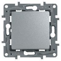 Interrupteur Interrupteur simple ou va-et-vient 10A Niloe gris avec enjoliveur finition argent